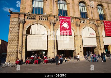 Cafe outside Palazzo del Podestà at Piazza Maggiore square central Bologna city Emilia-Romagna region northern Italy - Stock Photo
