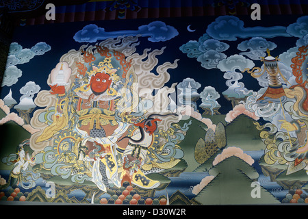 Chenmizang, the red king of the west holding a chorten and snake, lord of the nagas (serpents), Trashi Chhoe Dzong,Thimphu,36MPX - Stock Photo