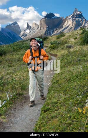 Trekking in Torres Del Paine National Park, Patagonia, Chile. - Stock Photo