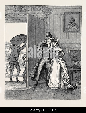 HOW I JOINED THE HUNDRED-AND-FIFTIETH, A REMINISCENCE OF THE EIGHTEENTH CENTURY: Sad Parting with Cousin Louisa - Stock Photo