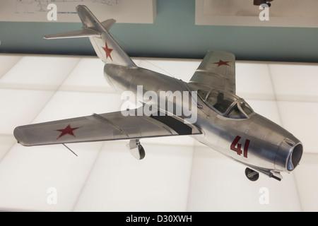 MiG-15 bis Soviet jet fighter aircraft model - Stock Photo