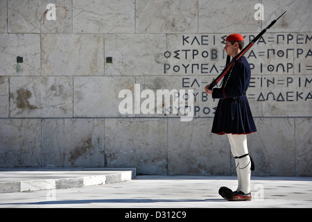Presidential Guard (Evzone) in front of the Tomb of the Unknown Soldier, Athens, Greece. - Stock Photo