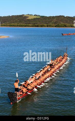 Ngatokimatawhaorua, New Zealand's largest ceremonial Maori canoe on the Waitangi River during Waitangi Day celebations - Stock Photo