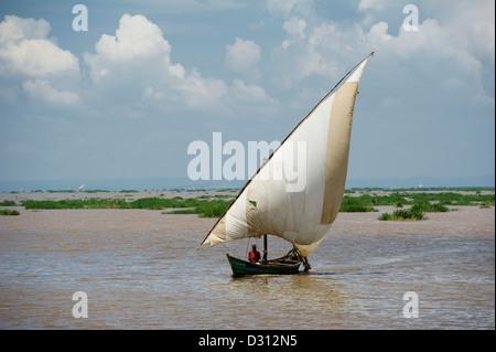 Fishing dhow, Kendu Bay, Lake Victoria, Kenya - Stock Photo