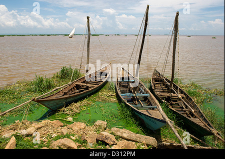 Fishing dhows, Kendu Bay, Lake Victoria, Kenya - Stock Photo