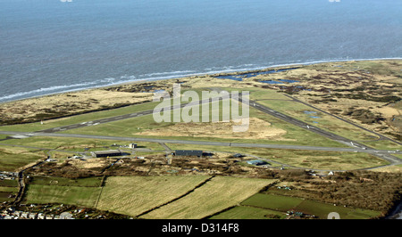 aerial view of Walney Island Airfield at Barrow-in-Furness, Cumbria - Stock Photo