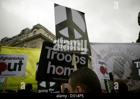 An anti war protest held in central London. - Stock Photo