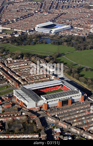 aerial view of Liverpool FC Anfield Stadium looking across Stanley Park to Everton FC Goodison Park Stadium, Liverpool - Stock Photo