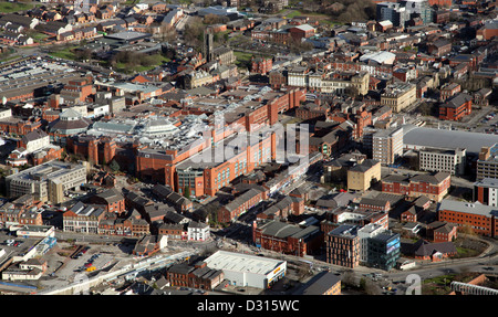 aerial view of Oldham town centre in Lancashire - Stock Photo