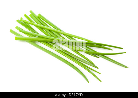 Fresh chives on white background - Stock Photo