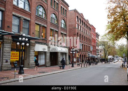 old warehouses and red brick buildings on historic water street in gastown Vancouver BC Canada - Stock Photo