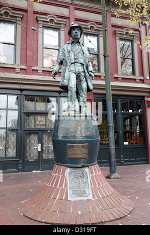 gassy jack statue in old gastown Vancouver BC Canada - Stock Photo