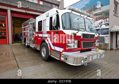 Vancouver fire rescue services truck engine outside hall 2 in downtown eastside BC Canada - Stock Photo
