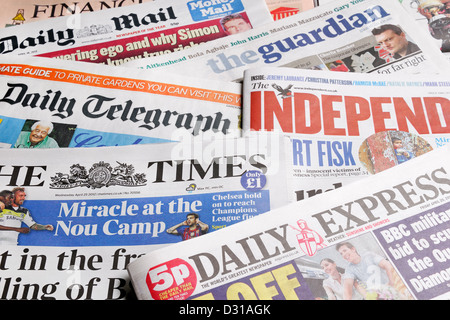 UK Newspapers. Broadsheet Daily Newspapers. - Stock Photo