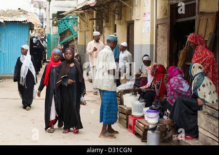 Street scene, Lamu, Lamu Archipelago, Kenya - Stock Photo
