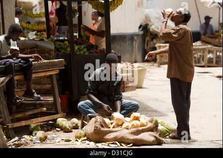 Boy selling coconuts for drinking, Lamu, Lamu Archipelago, Kenya - Stock Photo