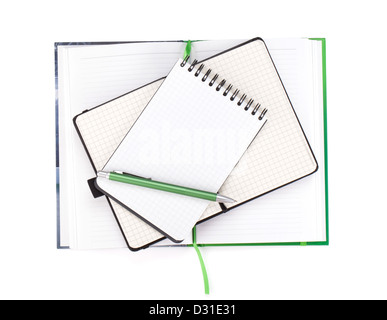 Office supplies. View from above. Isolated on white background - Stock Photo