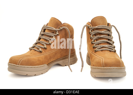 Brown hiking boots isolated on white with clipping path - Stock Photo