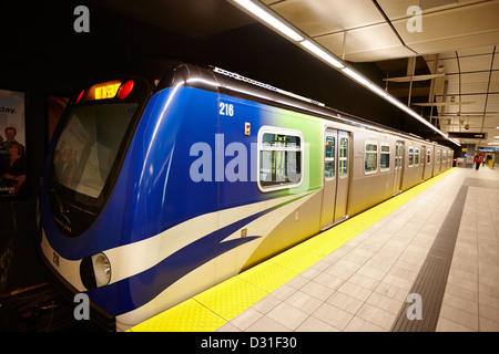 canada line skytrain at waterfront station platform Vancouver BC Canada - Stock Photo