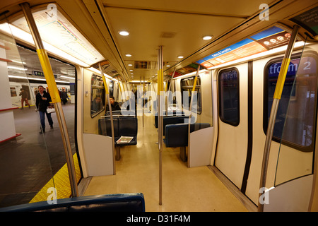 on board canada line skytrain at waterfront station Vancouver BC Canada - Stock Photo