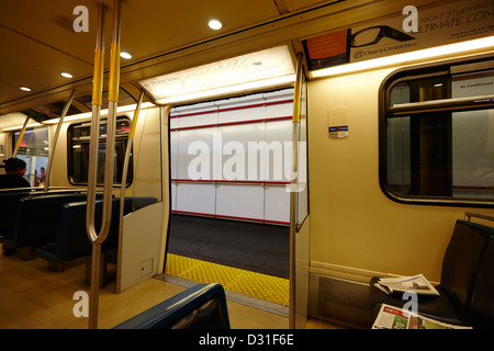 doors open on board canada line skytrain at station Vancouver BC Canada - Stock Photo