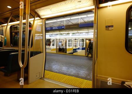 on board canada line skytrain at station Vancouver BC Canada - Stock Photo