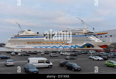The cruise ship 'AIDAstella' lies at the outfitting pier of shipyard Meyer Werft in papenburg, Germany, 06 February - Stock Photo
