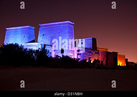 Sound and Light Show on Isis Temple on Agilika or Agilkia Island, Philae, Aswan. - Stock Photo