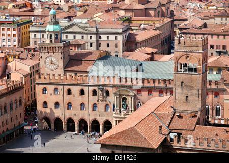 Aerial view of Piazza Maggiore in Bologna city, Italy - Stock Photo