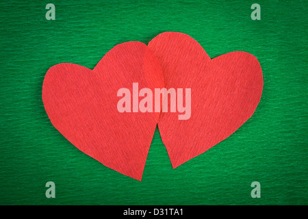 hearts paper texture red green - Stock Photo