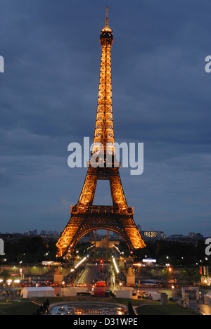 Vertical-View of Eiffel Tower during night, Paris, France. - Stock Photo