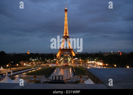 Horizontal-View of Eiffel Tower during night, Paris, France. - Stock Photo