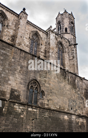 Royal Chapel of Santa Agata, also known as Saint Agatha, was built on old Roman walls in Barcelona Spain - Stock Photo