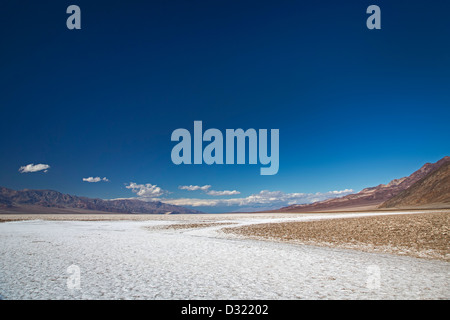 Death Valley National Park, California - The salt flat in Badwater Basin. - Stock Photo