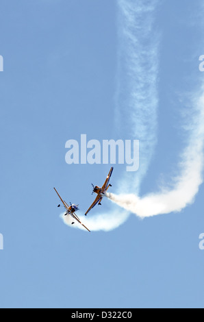 Aerial display by the Royal NZ Air Force aerobatics flying team The Red Checkers during Waitangi Day - Stock Photo