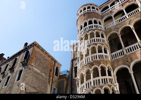 The Scala Contarini Del Bovolo, Corte Contarini, San Marco, Venice, Italy. - Stock Photo