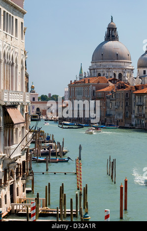 The view down the Grand Canal to Salute from Ponte Dell' Accademia, San Marco, Venice, Italy. - Stock Photo