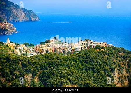 Photo of the hilltop Village of Corniglia, Cinque Terre National Park, Ligurian Coast, Italy - Stock Photo