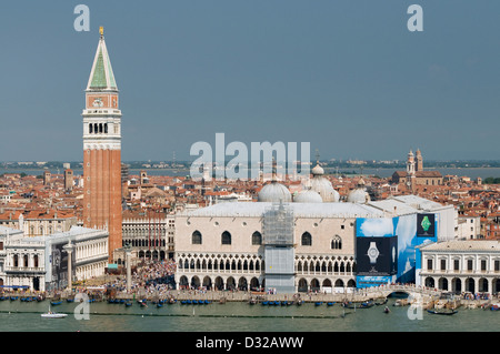 Piazza San Marco and the Campanile, San Marco, Venice, Italy. - Stock Photo