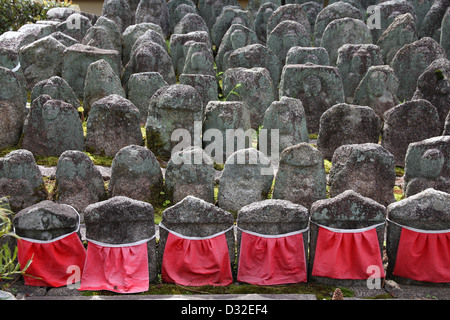 Kyoto, Japan - small jizo statues at famous Daitokuji (Daitoku-ji) Temple - Stock Photo