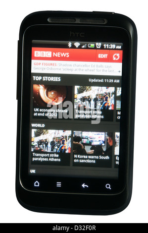 BBC News website app displayed on a mobile phone. - Stock Photo