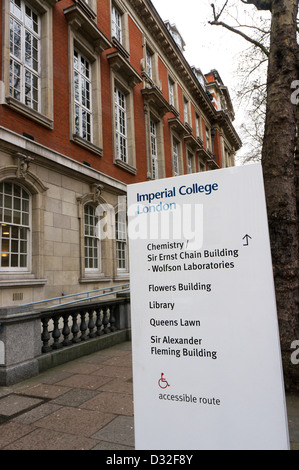 A sign for Imperial College in South Kensington, London. - Stock Photo