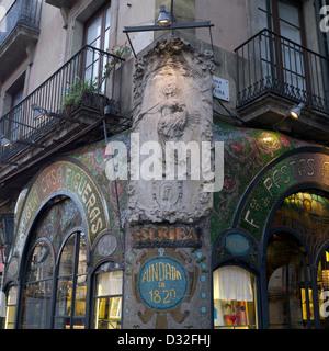 Antigua Casa Figueras, Catalan Art Nouveau pastry shop dating from 1902, Las Ramblas, Barcelona - Stock Photo