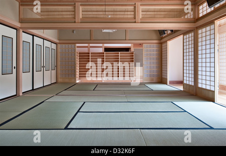 Daichi-ji zen temple - a contemporary version of a traditional Japanese interior, with sliding screens and tatami - Stock Photo