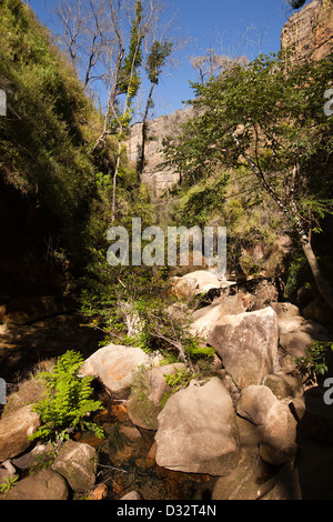 Madagascar, Parc National de l'Isalo, Namaza, rocky river bed - Stock Photo