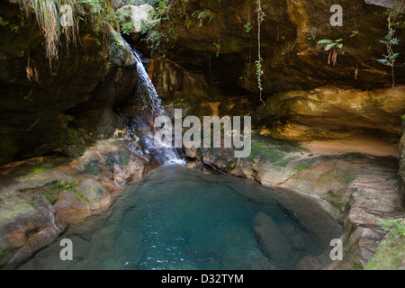 Madagascar, Parc National de l'Isalo, Namaza, Cascade des Nymphes, blue pool - Stock Photo