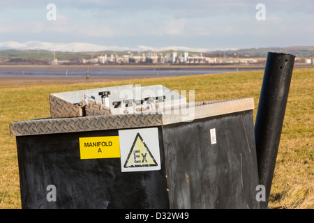Methane, extracted from an old landfill site on Walney Island, to power a biogas generator producing green electricity - Stock Photo