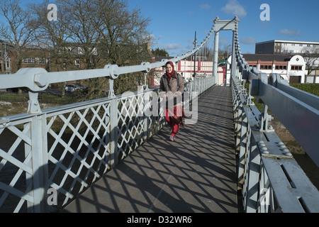 River Nith suspension bridge,Dumfries, Scotland, Far right is - Stock Photo