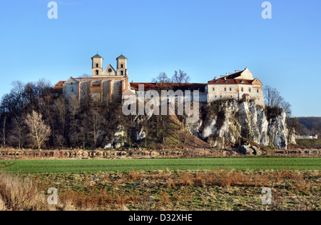 Benedictine monastery and Saint Peter and Paul church on the rocky hill by the Vistula river in Tyniec near Cracow, - Stock Photo