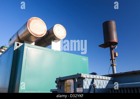 A Methane biogas generator producing green electricity, from biogas extracted from an old landfill site on Walney - Stock Photo